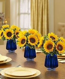 royal blue and sunflower engagement party mason jar favors - Google Search
