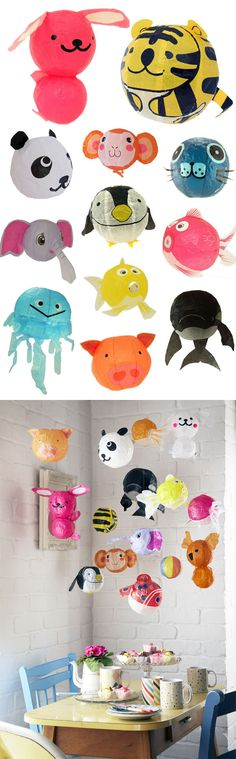 Animal party decorations- balloons or paper light shades hung from ceiling