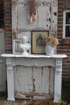 Image result for what to do with an old mantel when you don't have a fireplace