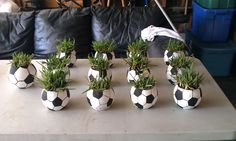 Soccer ball centerpieces, Glass small round fish bowl found @ Dollar Tree, Black & White paint & grass square from Lowes for $5.