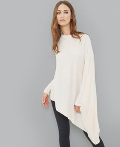 Asymmetric draped sparkle jumper