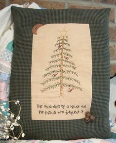 Ornaments Of A House Stitchery Pillow $3.50