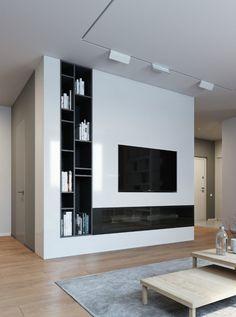 TV wall storage 900x1210 Elegant, Contemporary, and Creative TV Wall Design Ideas