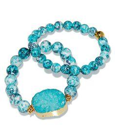 Look at this #zulilyfind! Turquoise & Druzy Stretch Bracelet Set #zulilyfinds
