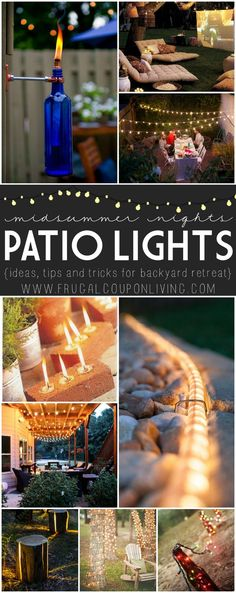 Midsummer Night Patio Ideas on Frugal Coupon Living. Looking for a night patio escape? We have some ideas to add the sweetest ambiance to your backyard retreat.