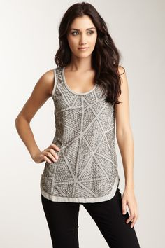 """Romeo & Juliet Couture Bead Pattern Tank  - Scoop neck  - Sleeveless  - Back keyhole design with button closure  - Beaded front  - Rounded hem  - Split side seams  - Sheer  - Approx. 27"""" length  - Imported"""