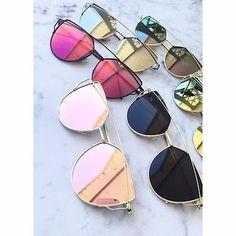 LUXE Rose Gold Mirrored Reflective Aviator Sunglasses Celeb DESIGNER Kylie MARBS