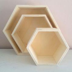 Set van 3 boxen - hexagoon
