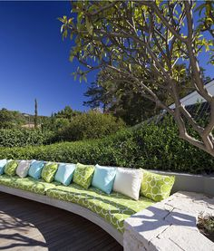 Outdoor Seating,Family Home Renovation Bellevue Hill, Sydney, - Honiton Residence by MCK Architects Outdoor Seating, Outdoor Sofa, Outdoor Spaces, Outdoor Living, Outdoor Decor, Outdoor Ideas, Deck Design, House Design, Blue And White Pillows