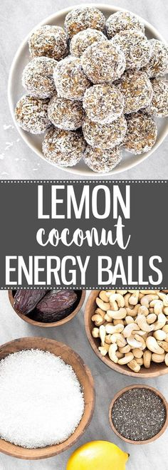 Healthy Lemon Coconut Energy Balls - No-bake snacks packed with cashew nuts, coconut, dates, chia seeds, lemon. Vegan, Paleo, Gluten Free via @easyasapplepie