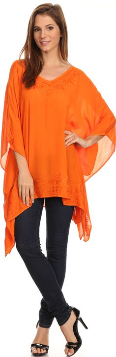 This lightweight rayon fabric is semi sheer and great for warmer  weather. You can wear this top paired with anything from shorts or denim  for warmer weather, or layered with a coat, pants or leggings and a  pair of boots! Also makes a cute coverup!