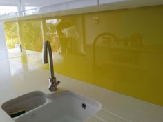 Canary Yellow Kitchen Glass Splashback by CreoGlass Design (London,UK). View more coloured glass kitchen splashbacks and non-scratch worktops on www.creoglass.co.uk #kitchen