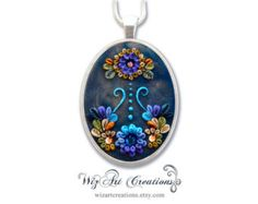 Blue White and Black Handmade Polymer Clay от WizArtCreations