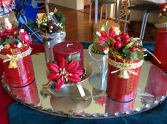 upcycled cans into Christmas decorations