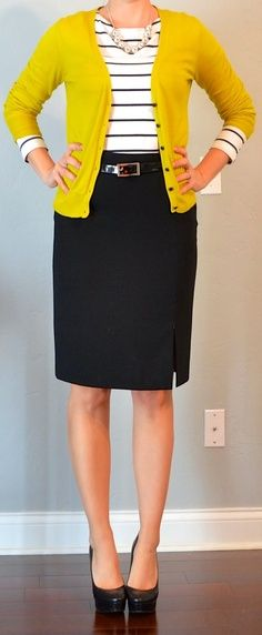 Pencil skirt, colored cardigan, striped shirt, belt