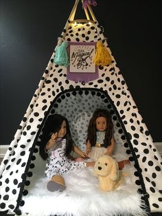 """Handmade Oversized doll teepee for 18"""" dolls. Deluxe set features teepee, unicorn  banner bunting, tassels and fur rug. Vintagekandyliving.etsy.com"""