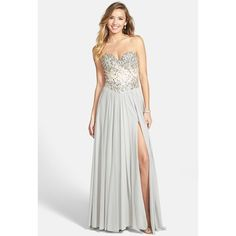 Women's Terani Couture Embellished Strapless Chiffon Gown ($310) ❤ liked on Polyvore featuring dresses, gowns, strapless chiffon dress, strapless evening gowns, embellished gown, chiffon gowns and chiffon dresses