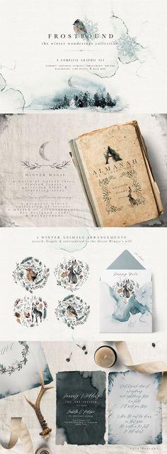 Frostbound - Winter Wonderings Graphic Watercolor Clip Art Set by Opia Designs @creativemarket @afflink