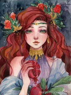 Margaret Morales the genius who depicted Persephone. Art And Illustration, Illustrations, Pretty Art, Cute Art, Art Sketches, Art Drawings, Watercolor Artists, Watercolor Girl, Watercolor Trees