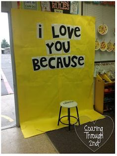 Have kids sit on chair and hold a chalkboard/sign which says what they love about their mom
