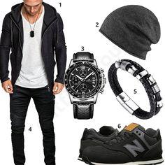 Herrenoutfit mit weißem Shirt und Zip-Hoodie von Amaci&Sons, grauer Strickmütze, Merish Jeans, New Balance Sneaker, Megalith Uhr und Halukakah Armband.