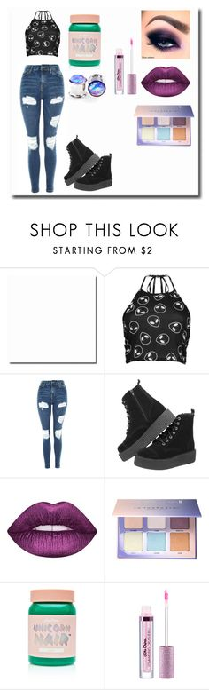"""I don't like humans 👽"" by dangerousmistake ❤ liked on Polyvore featuring Boohoo, Topshop, Lime Crime and Anastasia Beverly Hills"