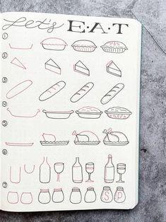Easy Doodles Drawings, Easy Doodle Art, Simple Doodles, Bullet Journal Lettering Ideas, Bullet Journal Ideas Pages, Bullet Journal Design Ideas, Bullet Journal Notebook, Bullet Journal Inspiration, Recipe Book Design