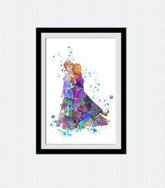 Elsa and Anna watercolor art print Frozen por ColorfulPrint en Etsy