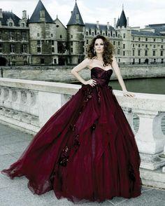 deep red wedding dress