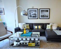 Young and colorful. Contemporary living room in condo. Bright colors. Designer Lena Kroupnik #Designer #interiordesign #interiordesigner #furniture #decor #декор #lenakroupnik #lenakroupnikinteriors