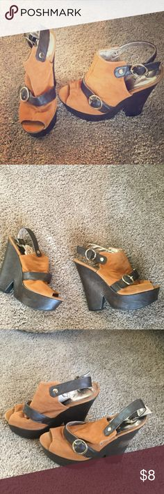 Camel wedge heels Qupid faux suede camel wedge heels with faux brown leather and gold ring buckles Qupid Shoes Wedges