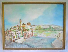 Vintage Original Painting North Africa Algeria Arab Village Mosque Minaret Landscape Bled Orientalism Algeri by divebackintime on Etsy