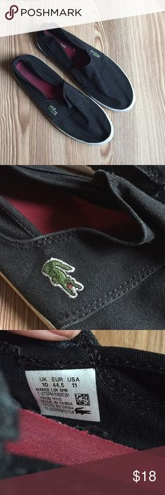 Lacoste Men's slip on Shoes, Size 11 Lacoste Men's slip on Shoes, Size 11 in good condition. Definitely been worn with some scuffs but damage to the sole or tears in the fabric. Please see photos for measurements and condition reference. Shoes Loafers & Slip-Ons