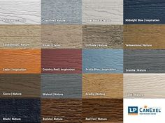 LP CanExel is prefinished in 19 colours by Valspar Paint, including two brand new colours for Barista and Red Fox. Vinyl Siding Colors, Exterior Siding Colors, Exterior House Siding, Barn Siding, Exterior Trim, Exterior Paint, Lp Smart Siding, Engineered Wood Siding, Fiber Cement Siding