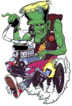 Frankenstein Hot Rod Cartooning - Classic Artwork!