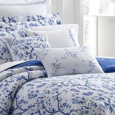 Laura Ashley Charlotte China Blue Floral Cotton Queen Comforter Set 211391 - The Home Depot Full Comforter Sets, Blue Comforter, King Comforter, Duvet Cover Sets, Bedding Sets, Blue And White Comforter, Crib Bedding, Bedding Master Bedroom, Blue Bedroom