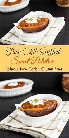 Taco Chili Stuffed Sweet Potatoes. grain free, paleo, & low carb