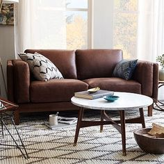 I really loved this sofa when I went furniture shopping but it was much too big.  Now it's available in a smaller size!  Dekalb Leather Loveseat #westelm