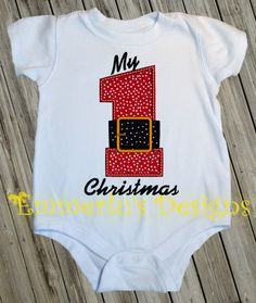 My First Christmas Shirt/Bodysuit/Romper by EmmerlusDesigns, $22.95
