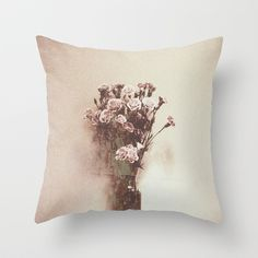 Abstract Vintage Flowers Throw Pillow by Victoria Herrera - $20.00