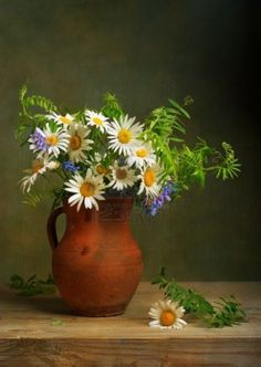 Still life with a bouquet of daisies Stock Photo