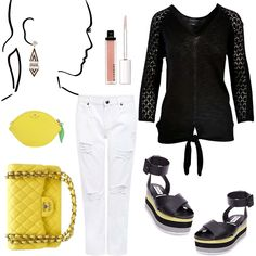 Mix a fun yellow with neutrals to spice up your outfit!