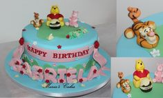 Vinnie the Pooh Cake Fondant Cakes, Cake Ideas, Baking, Birthday, Desserts, Food, Tailgate Desserts, Birthdays, Deserts