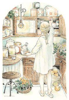 Japon Illustration, Watercolor Illustration, Watercolor Art, Art Anime Fille, Anime Art Girl, Pretty Art, Cute Art, Art Du Croquis, Bel Art