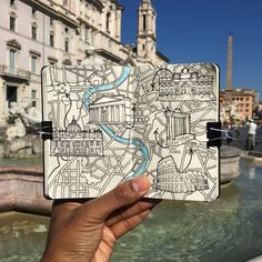 Rome city moleskine sketch book map drawing Rome is a nice city to walk around and capture in a sketch nice blue skies and warm sun to enjoy while on a short working holiday Map Sketch, City Sketch, Drawing Sketches, Art Drawings, Sketch Books, Drawing Ideas, Bullet Journal Voyage, Bullet Journal Travel, Travel Sketchbook