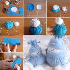 Cute felted snowman.  Check tutorial--> http://wonderfuldiy.com/wonderful-diy-adorable-sock-snowmen/