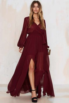 Go Your Own Way Chiffon Dress - Oxblood - Best Sellers   Back In Stock   Midi + Maxi   Dresses