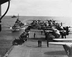 B-25 Mitchell bombers aboard USS Hornet April 1942 for the Doolittle Raid
