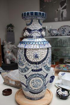 Blue and white mosaic vase