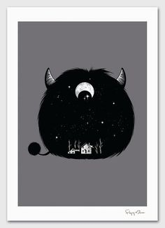 Swallowed by Darkness by Chow Hon Lam on etsy When the monster consumes you Funny Illustration, Creative Illustration, Cute Monster Illustration, Night Illustration, Halloween Illustration, Cute Monsters, Little Monsters, Monster Under The Bed, Love Monster